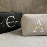 Edle Kosmetiktasche aus Kunstleder in verschiedenen Farben- Personalisierbar mit Namen.