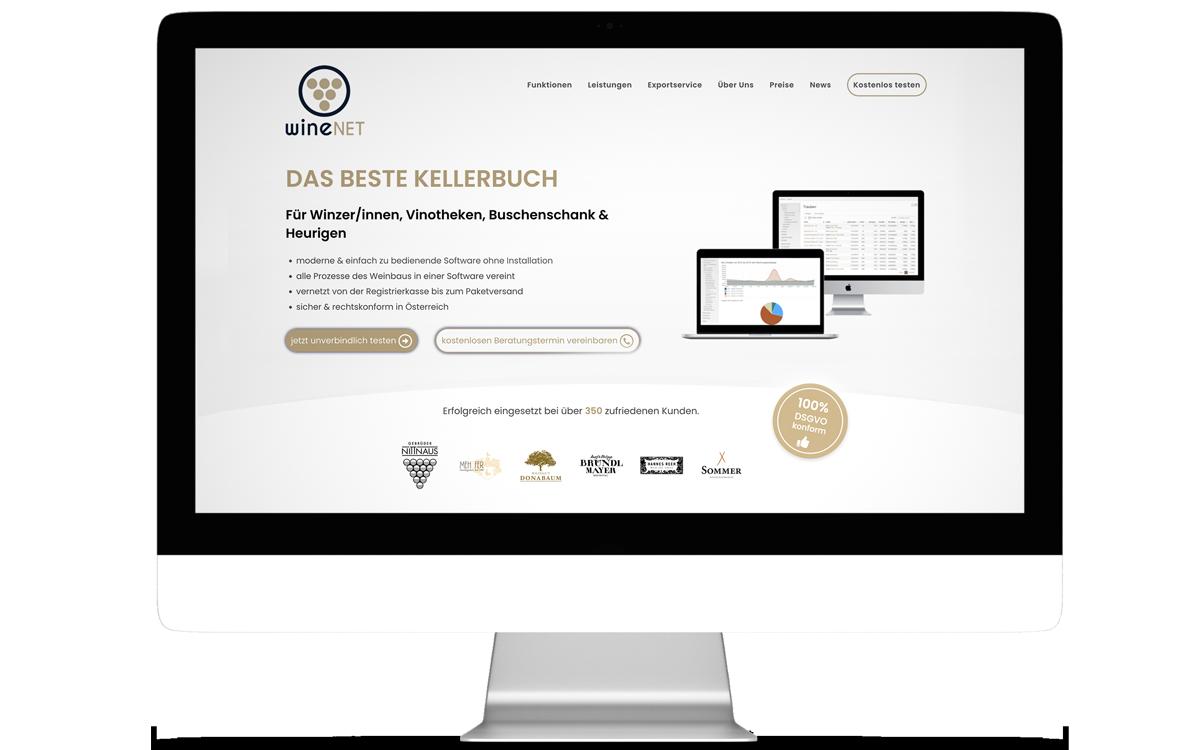 Webdesign für wineNET von Studio Stilhouette